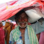 Flood affected elderly people happy with receiving food assistance